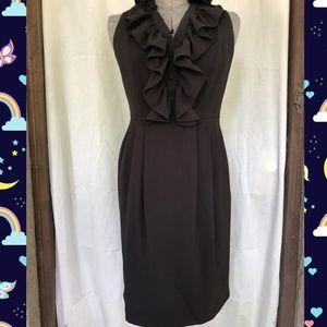 R&M Richards Black Sleeveless Ruffle Midi Dress S6